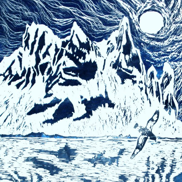 Antarctica. Antarctic Night Woodcut