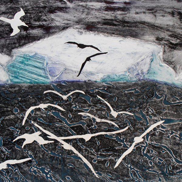 Antarctica. Stormy Seas Icebergs and Albatrosses