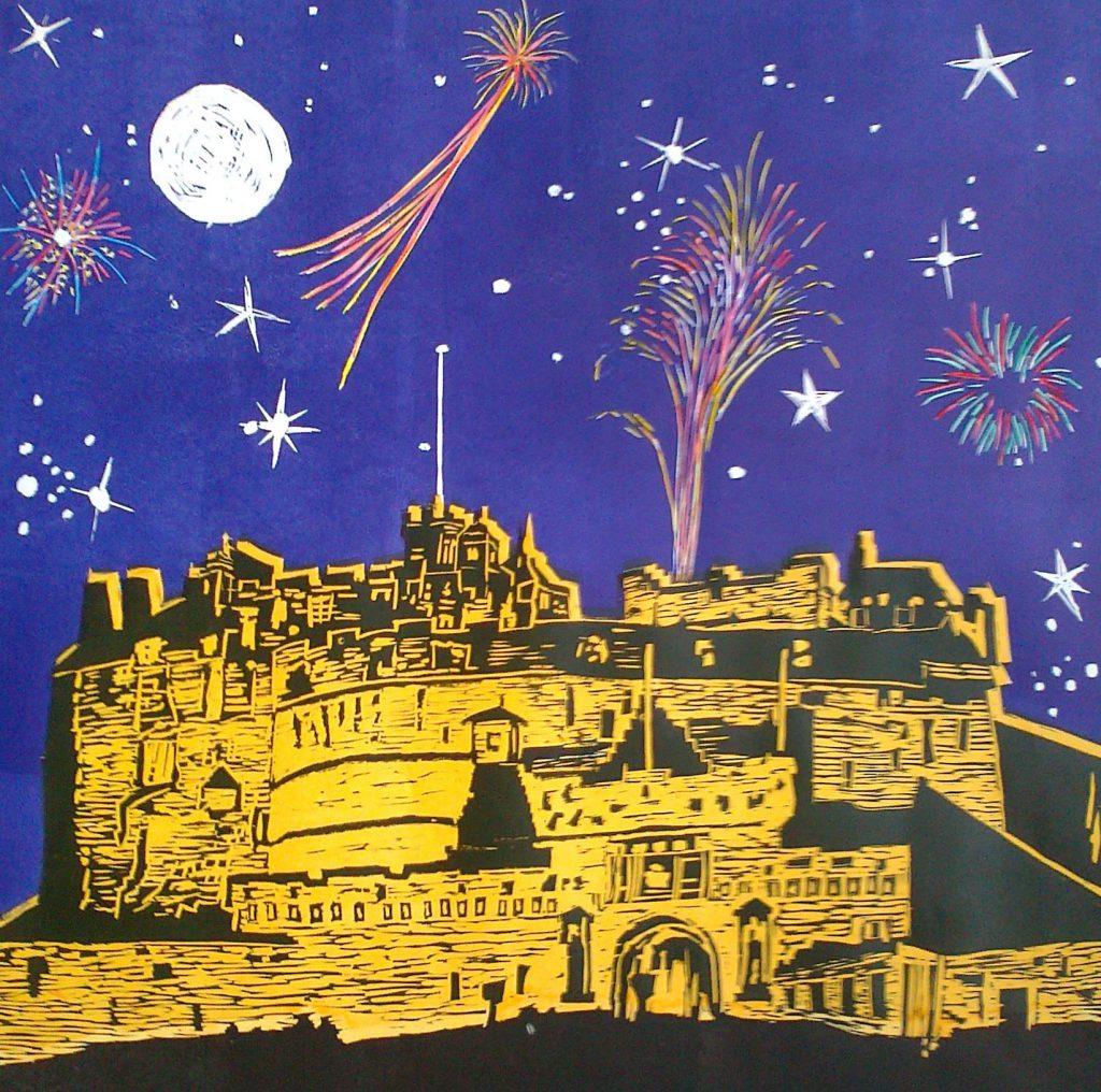 Linocut Edinburgh Castle with Moon Stars and Fireworks