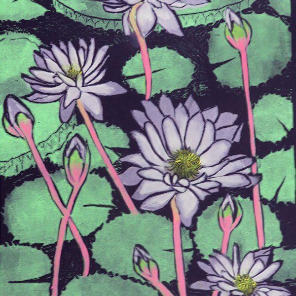 Linocut waterlilies 1