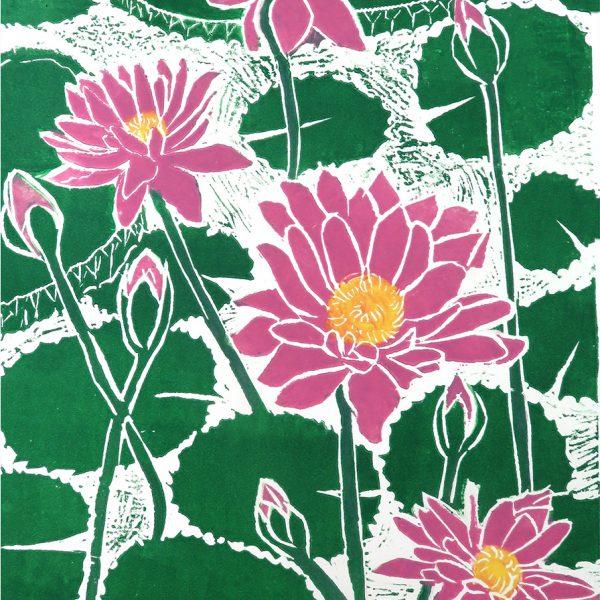 Linocut. Waterlilies III