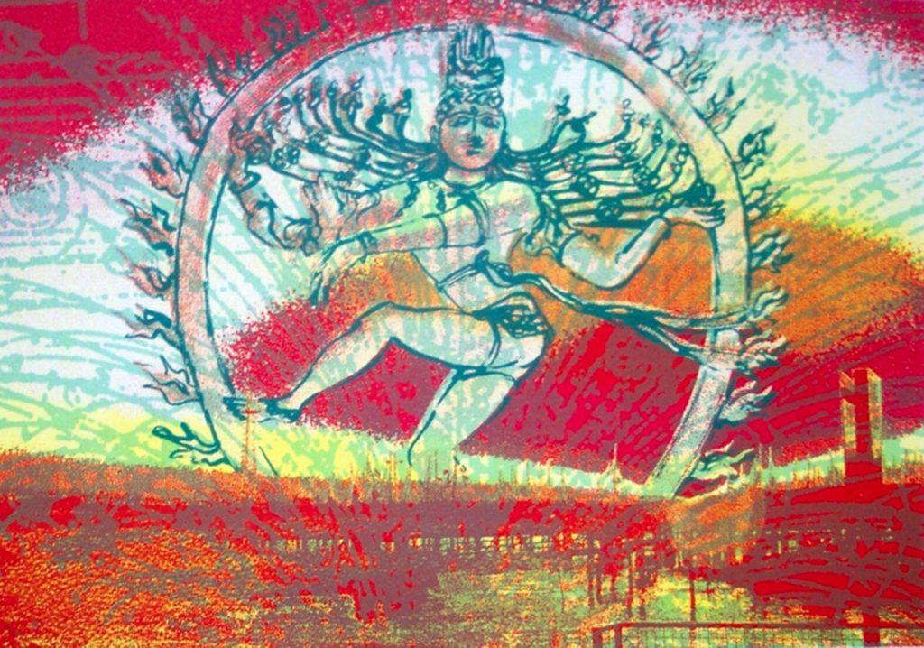 Screenprint. Shiva Dances over Southampton Docks