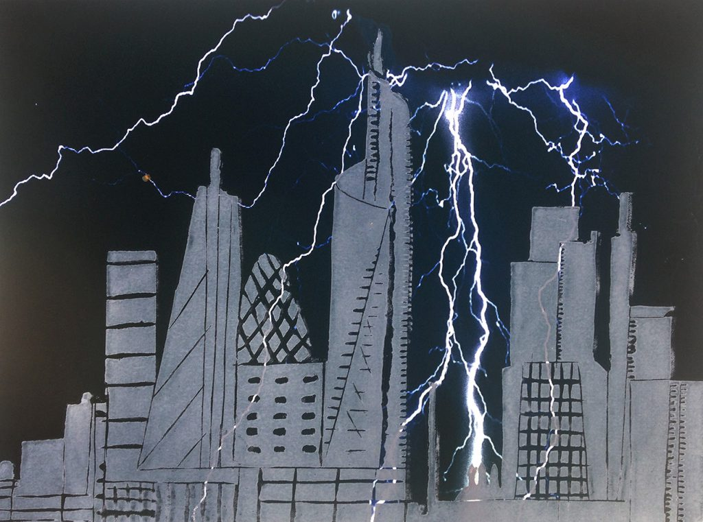 A Bolt from the Blue. Woodcut