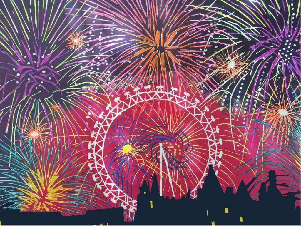 Woodcut. Fireworks